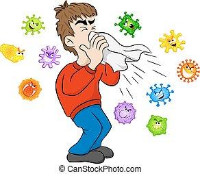 estornudar, hombre, microbios