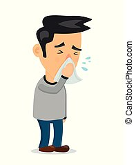 estornudar, hombre, persona, vector, plano, character.
