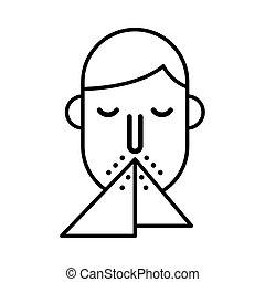 estornudar, icono, persona, línea, estilo