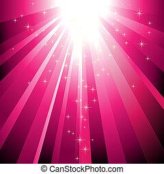 estouro, luz, cintilante, descendendo, estrelas, magenta