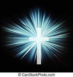 estouro, sobre, crucifixos, cristianismo, escuro, luminoso, ...