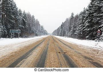 estrada, árvores inverno, neve