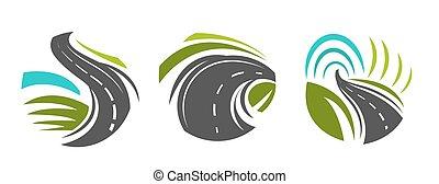 estrada, ícones, rota, isolado, estradas, navegação, ou,...