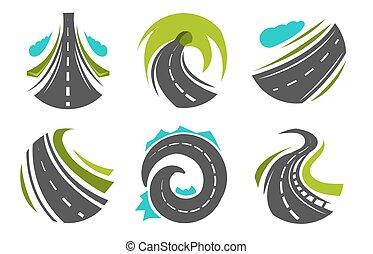 estrada, ícones, rota, isolado, rodovia, estradas,...