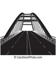 estrada, a, ponte