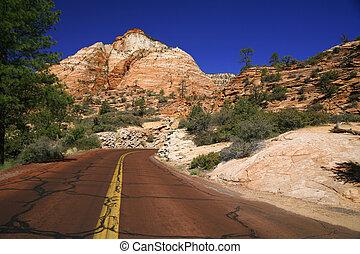 estrada, américa, eua, -, clássicas, zion, natureza, utah, np