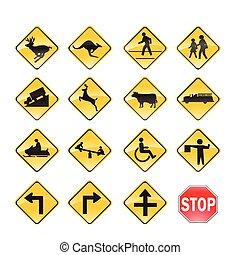 estrada, amarela, sinais