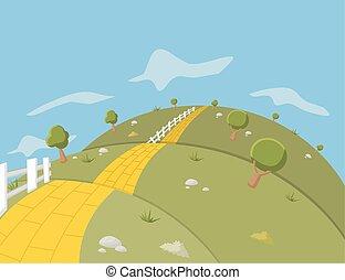 estrada, amarela, tijolo