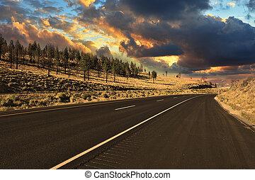 estrada, americano, pôr do sol, mundo, melhor