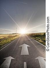 estrada asfalto, em, país