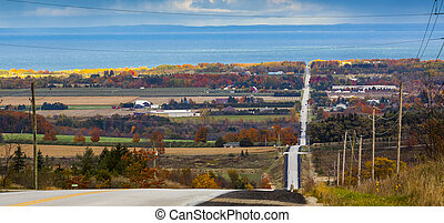 estrada, baixo, panorâmico, outono, país, paisagem, vista