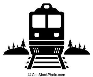 estrada barra, ícone, com, em movimento, trem