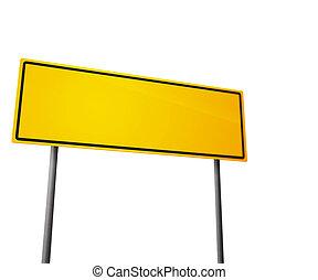 estrada, branca, isolado, sinal amarelo