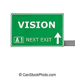 estrada, branca, isolado, visão, sinal