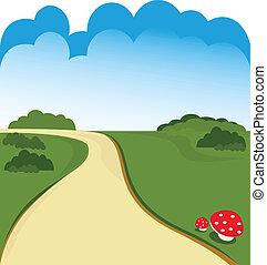 estrada, caricatura, fundo