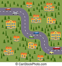 estrada, carros, houses., floresta, plano, village., paisagem