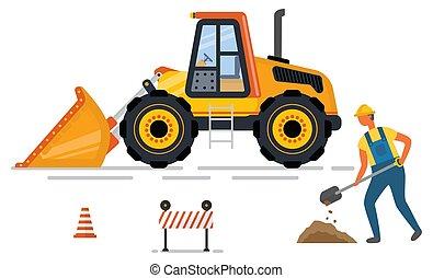 estrada, cavador, cone, vetorial, backhoe, barreira