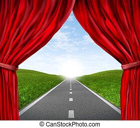 estrada, com, vermelho, cortina aveludada, e, cortinas
