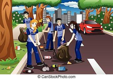 estrada, crianças, cima, oferecer-se, limpeza
