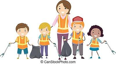 estrada, crianças, stickman, limpeza, ilustração
