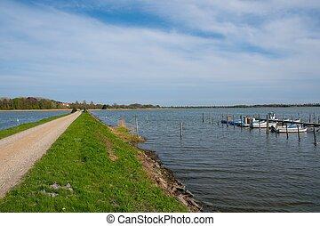 estrada, cruzamento, a, mar, direção, dinamarquês, ilha, de, langoe