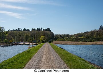 estrada, cruzamento, a, mar, direção, dinamarquês, ilha