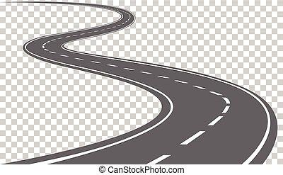 estrada curvada, com, branca, markings