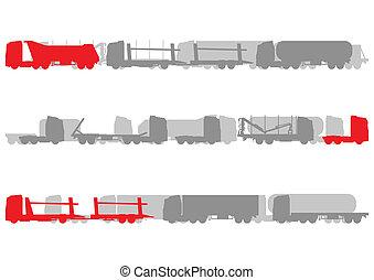 estrada, dever, detalhado, caminhões, logística, paisagem,...