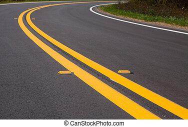 estrada, devider, linhas, e, marcadores
