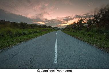 estrada, durante, pôr do sol