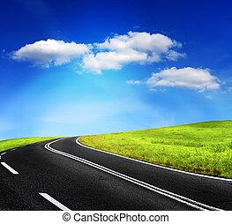 estrada, e, céu nublado