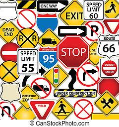estrada, e, sinais tráfego