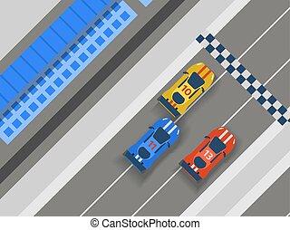 estrada, elementos, transporte, illustration., estrada,...