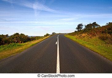 estrada, em, noite, luzes, ligado, a, penhasco, -, direita,...