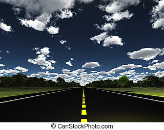 estrada, em, paisagem verde, com, nuvens
