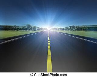 estrada, em, paisagem verde, movendo, luz