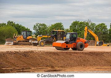 estrada, equipamento, para, a, construção, de, estradas