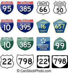 estrada estatal, sinal, lustroso