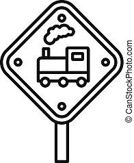 estrada, estilo, sinal, ícone, esboço, estrada ferro