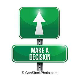 estrada, fazer, decisão, ilustração, sinal