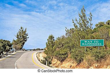 estrada, felicidade, sinais