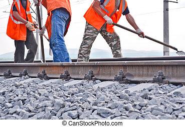estrada ferro, dique, trilhos, e, trabalhadores, em,...