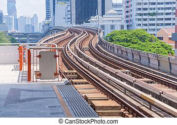 estrada ferro, em, céu, trem, em, bangkok, tailandia
