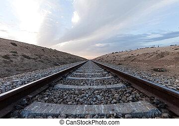 estrada ferro, em, deserto, terreno