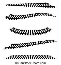 estrada ferro, ferrovia, silhuetas, com, distorção, effect.,...
