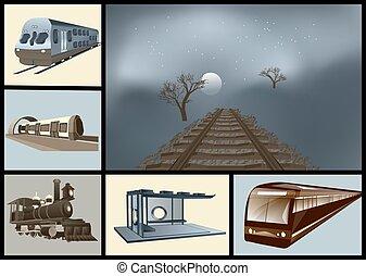 estrada ferro, jogo, transporte