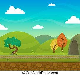 estrada ferro, paisagem, ilustração