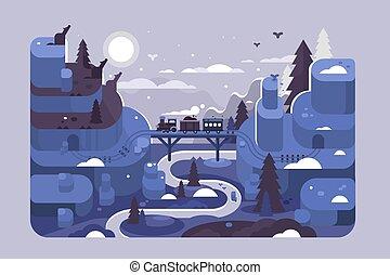 estrada ferro, paisagem inverno, noturna