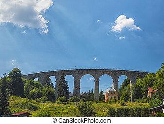estrada ferro, república, jizera, montanhas, smrzovka, tcheco, viaduct