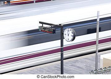 estrada ferro, station., trem velocidade alto, departure.